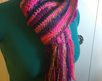 Freeform Sequin and Sparkles Crochet Scarf-Black, Pink, and Purple-One of A Kind