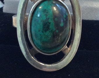 Sterling Silver Israel Turquoise Ring 7.7 Grams 5 3/4 size