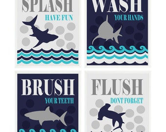 Shark Bathroom Wall Art, Kids Bathroom, Wash, Flush, Brush, Splash, Navy Blue, Gray, Turquoise, Shark Bathroom Theme, Shark Art Boy Bathroom