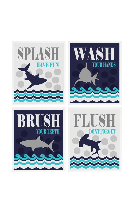 Shark Bathroom Wall Art Kids Bathroom Wash Flush Brush