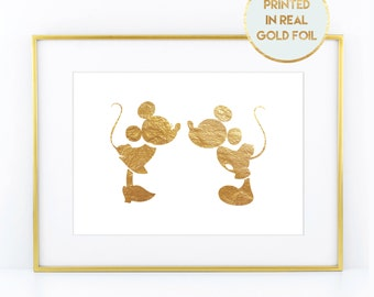 Gold Foil Mickey & Minnie Mouse Print - Child Nursery Bedroom Decor Paper in Foil Print in Real Metallic Foil