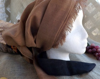 Ginger 100% Linen Long Head Band Scarf with Matching Ribbon and Two Toned Wrap Ties