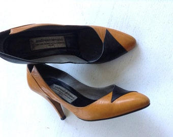 Vintage Black & Brown Leather Pumps S 6.5
