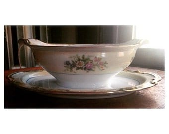 Antique Gravy Boat by Noritake -Moreton Pattern- Attached Underplate -RARE- 1930's