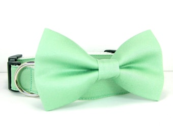Wedding dog collar-Sage Green Dog Collars with bow tie set  (Mini,X-Small,Small,Medium ,Large or X-Large Size)- Adjustable