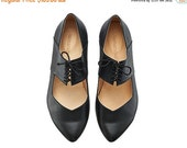 Back to School Sale Vicky Black ballerina shoes / handmade leather  flats by Tamar Shalem