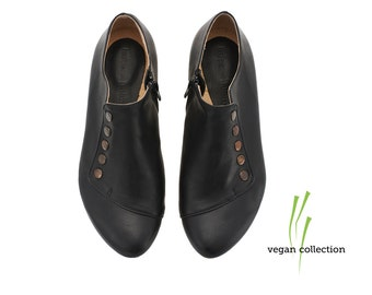 Pre-order Vegan handmade black flat shoes, by Tamar Shalem on etsy