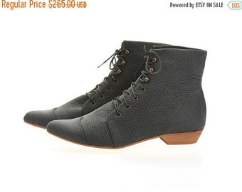 BOOTS SALE Dark stone boots, High Polly-Jean, Dark Grey Boots, Leather Boots, handmade, flats, leather shoes, by Tamar Shalem on etsy