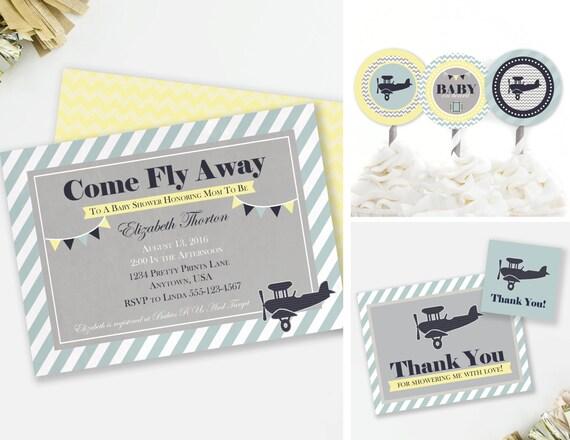 airplane invitation set, travel baby shower, baby on board shower, Baby shower invitations
