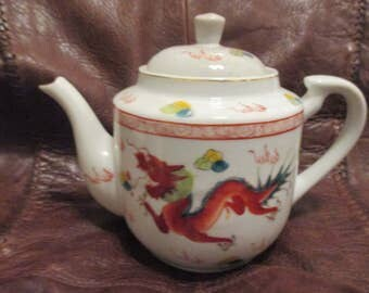 Vintage Chinese Teapot DRAGON & ROOSTER
