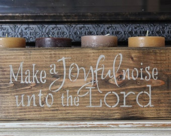 wood sign, make a joyful noise unto the Lord, wooden block, mantle piece,wooden sign, hand painted,christian,scripture,bible verse