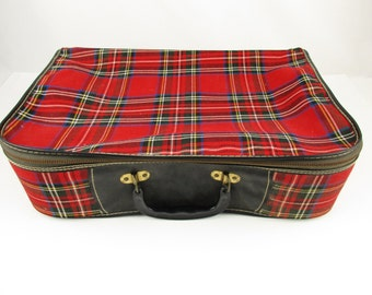 Soft-sided Overnighter/ Suitcase - Vinyl-lined Tartan Plaid - Red Plaid Soft-side Suitcase - Soft Bag With Plastic Handle