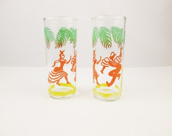 Flamenco Dancers - A Pair of Stovepipe Glasses - Green to Orange to Yellow - 8 Oz. Drinking Glasses - Federal Glass