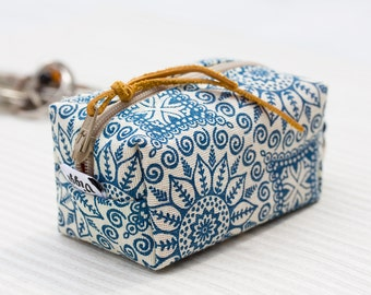 Keychain Pouch Blue, Zipper Purse Boho, Key Hanger Bag