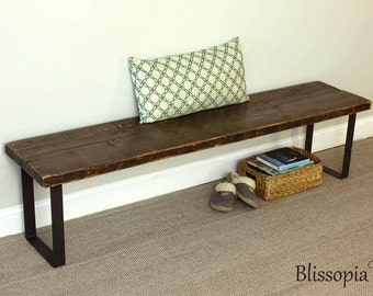 Industrial Steel Leg Bench, Reclaimed Wood Bench, Dining Bench, Entry Bench