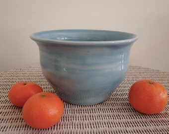 Sky Blue Pottery Pot or Serving Bowl - Handmade - Large Size