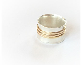 Spinner rings for women - Spinner Ring Silver - Meditation Ring - Fidget Spinner - Fidget Ring - Silver and Gold Ring