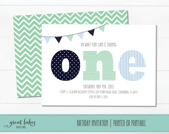 First Birthday Invitation, Boys Birthday Invite, 1st B-day Invite, Blue and Green, Chevron, Polka Dots, Stripes, Bunting, Birthday Party