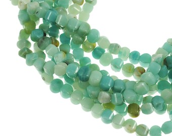 """Amazonite 8mm Cushion Rounded Cube Gemstone Beads - Full 16"""" Strand - About 47 Beads - Soft Blue Color"""