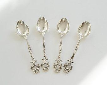 Vintage Swedish GEWE M Silver Coffee Spoons , Scandinavian, Tableware, Silver Ladles, Teaspoons, Sweden Silver