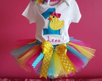 Birthday Onesie/Shirt tutu set Rubber duck