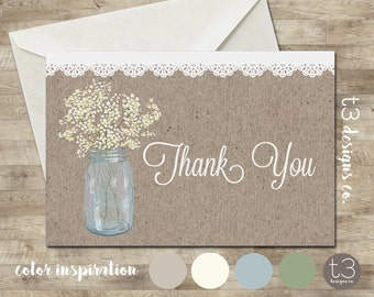 Country Rustic thank you card,baby's breath thank you, baby shower thank you, pink peonies, rustic mason jar,shabby chic