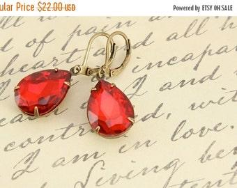 SALE 20% OFF SALE Vintage Ruby Red Earrings, Large Rhinestone Earrings, Wedding Jewelry