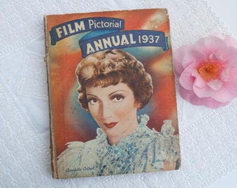 Vintage book: 'Film Pictorial Annual 1937', hardcover, Hollywood movie stars, Clark Gable, Ginger Rogers, Claudette Colbert, Carole Lombard