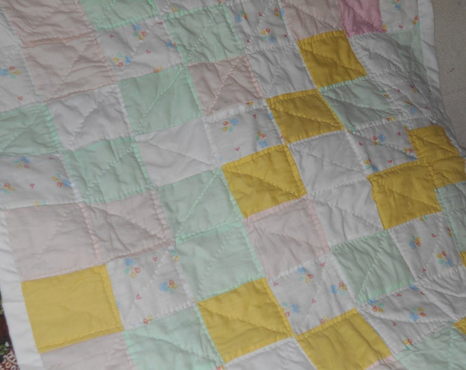 Baby Girl Quilt, Baby Gift, Baby Homemade Quilt or Nautical Baby Quilt