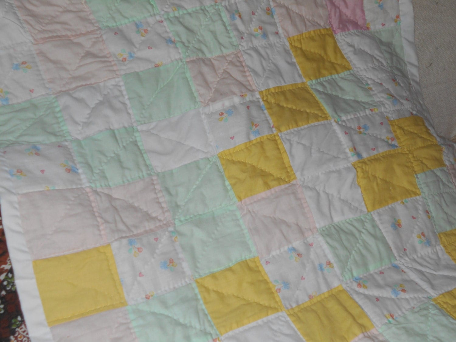 Baby Gift Quilt : Baby girl quilt gift homemade or nautical