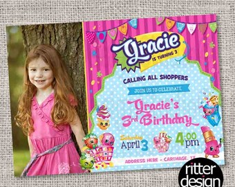 Shopkins Birthday Invitation with or without photo - Printable Digital file