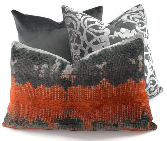 charcoal burnt orange light gray ikat chenille lumbar throw. Black Bedroom Furniture Sets. Home Design Ideas