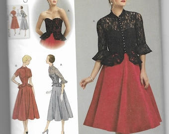 1250 Simplicity One-Piece Dress and Jacket Sewing Pattern Sizes 14-22 Vintage Reproduction 1950s