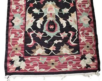 Vintage Hallway Runner 8' x 2.5' - kilim style rug