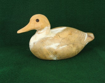 Wood Duck Figurine Carved Wooden Duck Handmade Bird Art Figurine