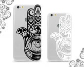 Clear TPU Soft Case Back Cover Protection for iPhone and Galaxy Devices Tribal Hamsa Hand of God Fatimah UV0320