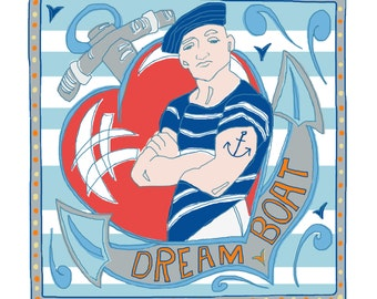 "Nautical sailor greeting card ""Dream boat"" design"