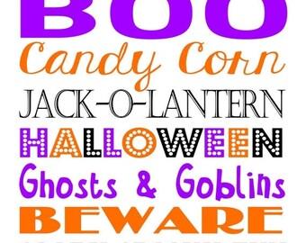BACK TO SCHOOL sale Halloween Subway Art - 8x10 Instant Download