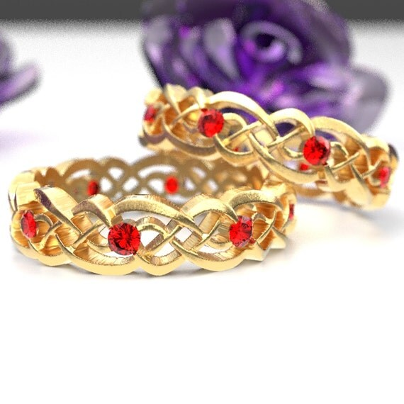 Gold Celtic Wedding Ring Set With Rubies, Infinity Band, Eternity Diamond Ring in 10K 14K 18K Palladium or Platinum, Custom Size 1044