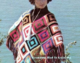 Poncho Crochet Pattern - Vintage 70s Granny Squares Poncho - Sweater Shawl Wrap - PDF Instant Download - Digital Pattern - Blocked Wrap Coat