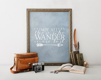 Printable Wall Art - Inspirational Quote - Not all those who wander are lost - Gift - Minimalist decor - Blue Grey Background - SKU:971