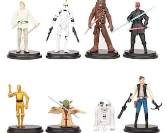 Star Wars CAKE TOPPER Luke Skywalker Yoda Hans Solo R2D2 Chewbacca 8 Figure Set Birthday Party Cupcakes Figurines Disney * FAST Shipping *