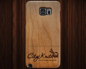 Custom logo engraved wood Samsung Galaxy Note 5 case. Cherry wood.