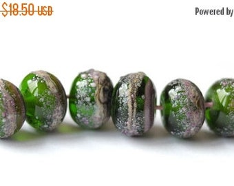 ON SALE Handmade Glass Lampwork Beads - Green Violet Transparent