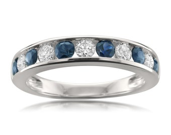 14k White Gold Round Diamond & Blue Sapphire Wedding Band Ring (1 cttw, I-J, I1-I2)