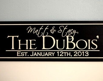Personalized Wedding Gift, Custom Wedding Sign, Engraved Family Name Sign, Established Sign 6x16, Family Christmas Gift, Family Name Sign