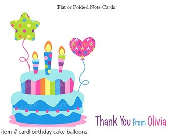 Birthday Party Cake Balloons Thank You Personalized Note cards Stationery Set of 10 flat or folded notecards