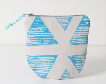 Blue Block Printed zipper pouch, Block printed pouch, Coin holder