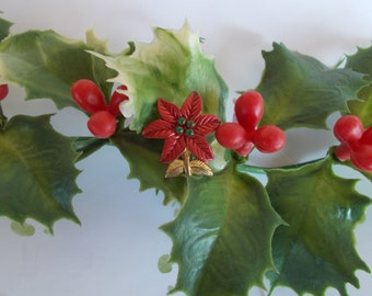 Vintage Tiny Red Pointsettia Brooch // 4