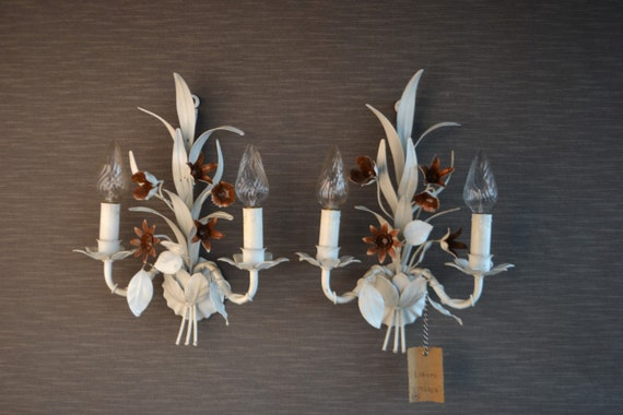 RESERVED: Beautiful tole Flower sconce pair.